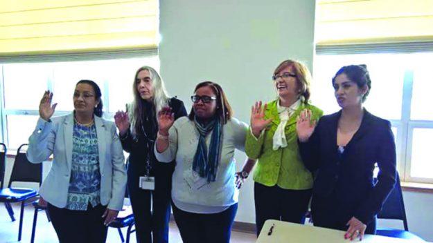 ➥➥ Parte de la Nueva Junta. De izquierda a derecha: Miriam Morales, Grace García, Magalis Troncoso, Nelly Kleinerman y Rocío Jorge.