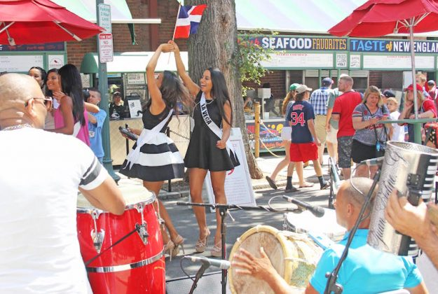 Dominican style party: Yawkey Way in Fenway Park.