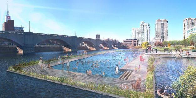 El área de natación permanente estaría en estaría en la línea de Boston-Cambridge, cerca del Museo de Ciencias.