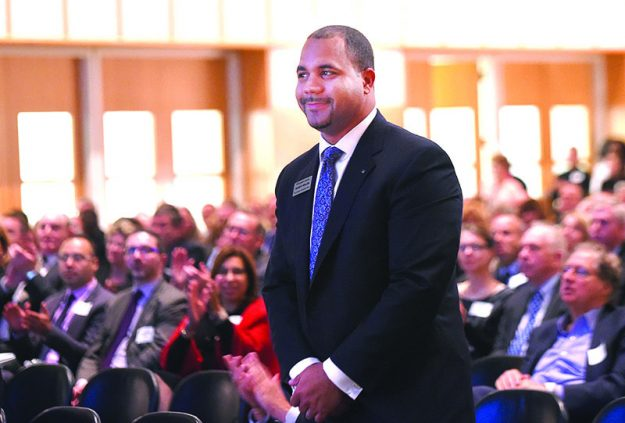 ➥➥ Quincy Miller being introduced at Eastern Bank annual meeting in March 2016.