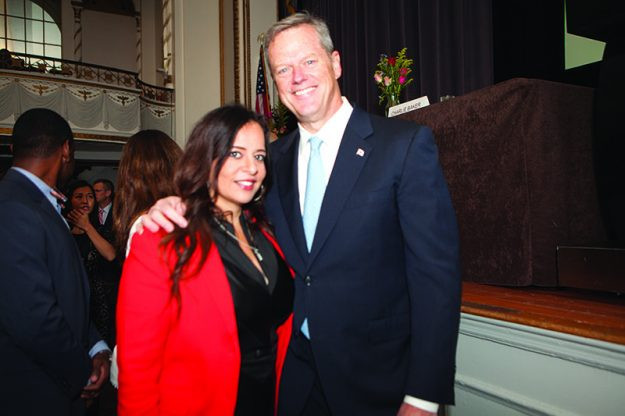 ➥➥ María Vasallo, Senior Manager, Marketing, Communications and Public Relations of Cambridge College with Governor Charlie Baker.